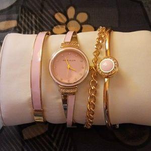 Anne Klein watch with matching bracelets